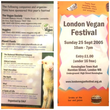 Details of the 2005 London Vegan Festival handout.