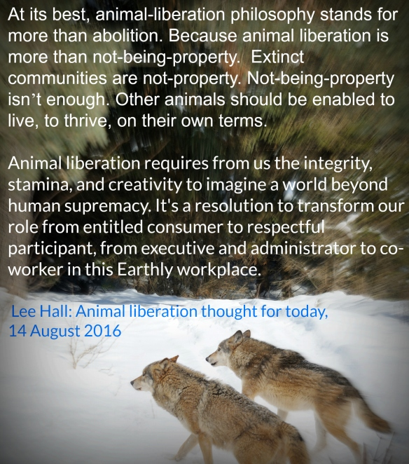 Animal liberation thought for today 14.8.2016